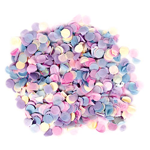Andaz Press Tissue Paper Confetti 1-Inch Round Circles, Blush Pink, Pink, Baby Blue, Purple, Iridescent in Bulk 5.3oz Pack, Mermaid, Princess, Pony Birthday Party, Confetti Balloon Decorations ()