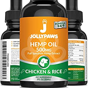 Jollypaws Hemp Oil for Dogs and Cats – (500 MG)- All Natural Pain Relief, Stress & Anxiety Support, Chicken and Rice…