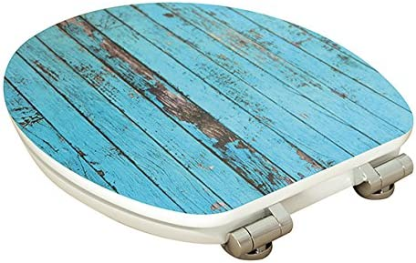 Turquoise EISL Abattant WC en MDF High Gloss Blue Wood avec Frein de Chute EDGHBW01
