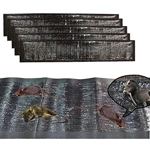 KChoies 5 Pack Extra Large PU Leather Mouse Glue Mats(47.5x 11), Peanut Butter Scented Dampproof Strong Adhesive Glue Traps Mats Indoor Outdoor for Mice,Rats,Rodents,Cockroaches,Snakes,Spiders