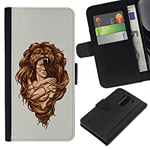 LG G3 D855 D850 D851 , la tarjeta de Crédito Slots PU Funda de cuero Monedero caso cubierta de piel ( Amazon Woman Warrior Lion Wild Nature Art)