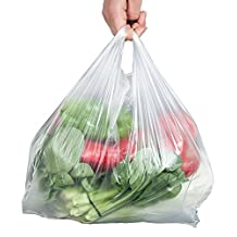 """100pcs White Plastic T-shirt Carrier Bags for Retail Shopping Supermarket Household Food Storage Bags (8.66"""" x 12.6"""")"""
