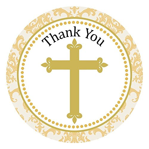 Gold Cross Thank You Stickers - Baptism First Holy Communion Party Favor Labels - Set of 30