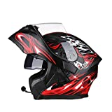 Motorcycle Helmet with Bluetooth 2 Visors Safety Helmet Flip Up Helmet For Adult (Bluetooth A, L (55-58cm))
