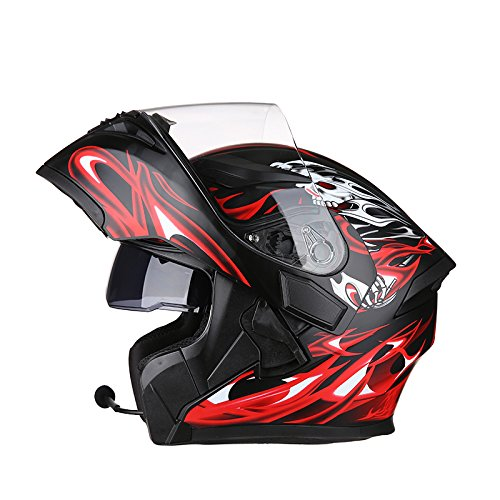 Motorcycle Helmet with Bluetooth 2 Visors Safety Helmet Flip Up Helmet For Adult (Bluetooth A, L (55-58cm)) by AIMEE-JL