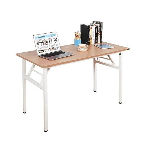 NeedFurniture Mesa Escritorio Plegable, 120x60 cm Mesa de Ordenador Escritorio de Oficina Mesa de Estudio Mesa de Comedor Plegable para Hogar ...
