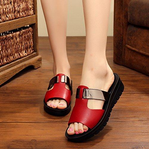 Qingchunhuangtang@ Sommer Sandalen Sandalen Sandalen Flachen Hang Mit Einem Wort Der Hausschuhe Rutschfeste Hausschuhe 1ead7c