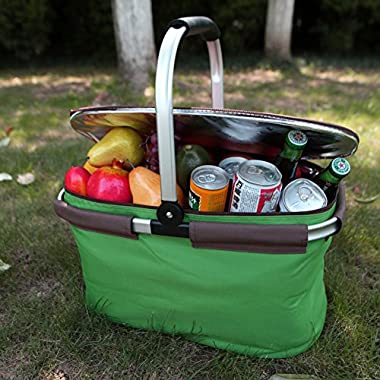 22L Picnic Basket by Yodo - Collapsile Cooler Bag - Insulated up to 4 hours - Idea for Camping, Party, Concert or Sport Events, Green