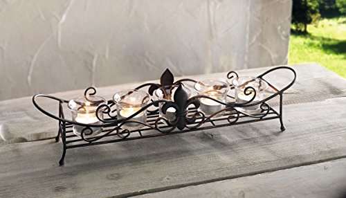 Fleur De Lis Centerpiece (5-Light Wavy Metal & Glass Votive Candle Holder Set, Tabletop Centerpiece Product SKU: CL229250)
