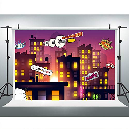 9X6FT Superhero Boom City Super Girl Photography Backdrop for Birthday Party, City Night View Background, Photo Booth Cake Table Banner Props - Supergirl Rose