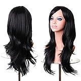 Longzang Women's Cosplay Big Wavy Long Hair Wig (Black)