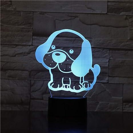Bonitos cachorros Big Ear LED perro 3D luz nocturna 7 colores ...