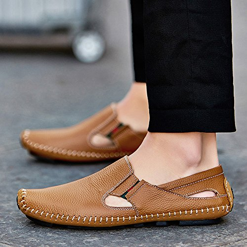 Shoes Slip Summer Fashion Brown Loafers Casual Leather YZHYXS Walking on Driving Men Shoes Slippers wq0g07tU