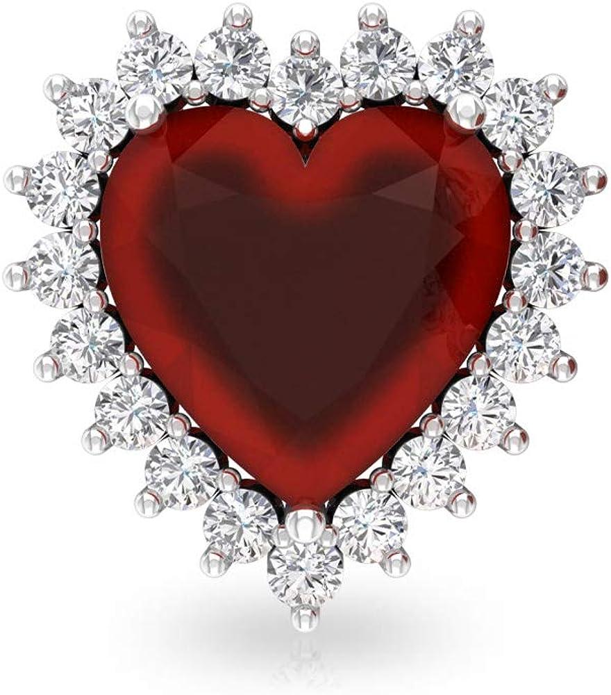 Pendientes de tuerca de ónix rojo de 3 ct, certificado IGI de diamante, declaración de boda, IJ-SI Diamond Madres Aretes, forma de corazón, tornillo hacia atrás