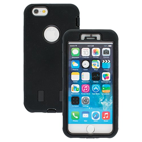 Good Quality Apple iphone 6 Case cover Durable Shockproof Armor Case 3in1 Combo Rigid PC + Soft Silicone Protective Case (Black)