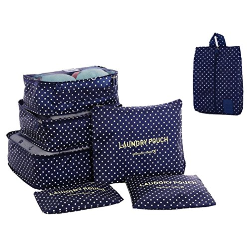 Price comparison product image ColorMixs 7 set travel Organizers- 3 Packing Cubes + 3 Luggage Organizers Pouches+ 1 Shoes Bag (Navy Circle)