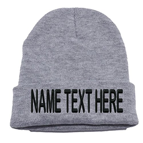 Caprobot ID Custom Embroidery Personalized Name Text Ski Toboggan Knit Cap Cuffed Beanie Hat - Heather Grey