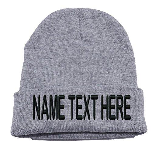 Custom Embroidery Personalized Name Text Ski toboggan Knit Cap Cuffed Beanie Hat - Heather Grey (Hat Ski Cuffed Beanie)