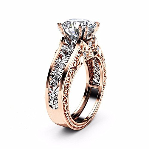 (Haluoo Womens Fashion Rose Gold Plated Engagement Wedding Band Flower Leaf Diamond Rings Two-Tone Bridal Eternity Ring Jewelry Gift Size 5 to 11 (7, Silver))