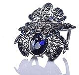FINGER LOVE Crystal Rhinestone Alloy Flower Hair Claw Clip Pin (A) (Blue)