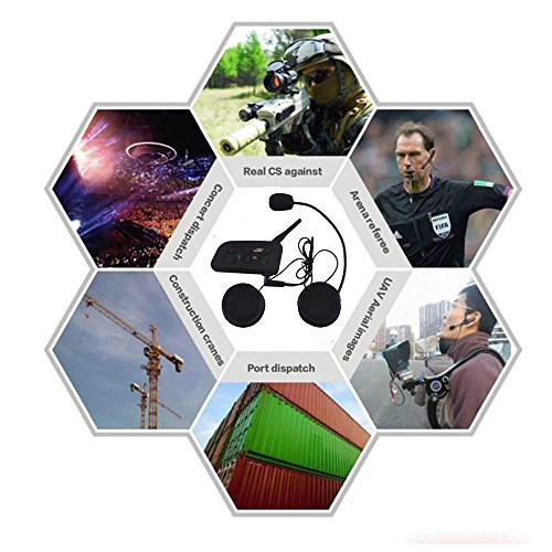 Motorcycle Helmet Bluetooth Intercom Headset, V6 BT 1200M Range 6 Riders Wireless Interphone Speakers IP65 Waterproof Communication Systems Kit for Motorbike Skiing Cycling Climbing by TOP-MAX (Image #6)'
