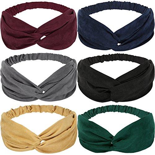 Criss Cross Satin Ribbon - JIPIE 6-Pack of Assorted Elastic Twist Bowknot Headbands Fashion Velvet Fabric Head Wrap Criss Cross Bandeau Hair Ribbon for Women and Girls (JPHB0004-Velvet)