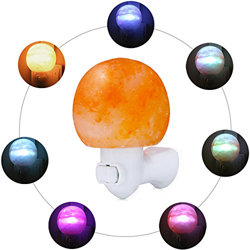 USCVIS Himalayan Salt Lamp, Natural Crystal Salt Rock Nursery Wall Night Light Plug In Nightlight and Multi LED Color Changing Bulb