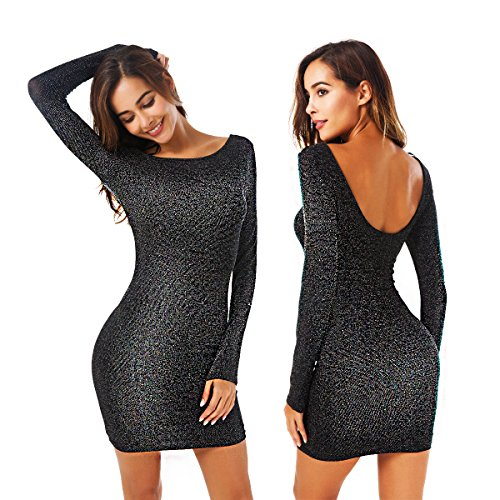 Zumine-Glitter-Dress-for-Women-Backless-Bodycon-Stretchy-Mini-Party-Dress