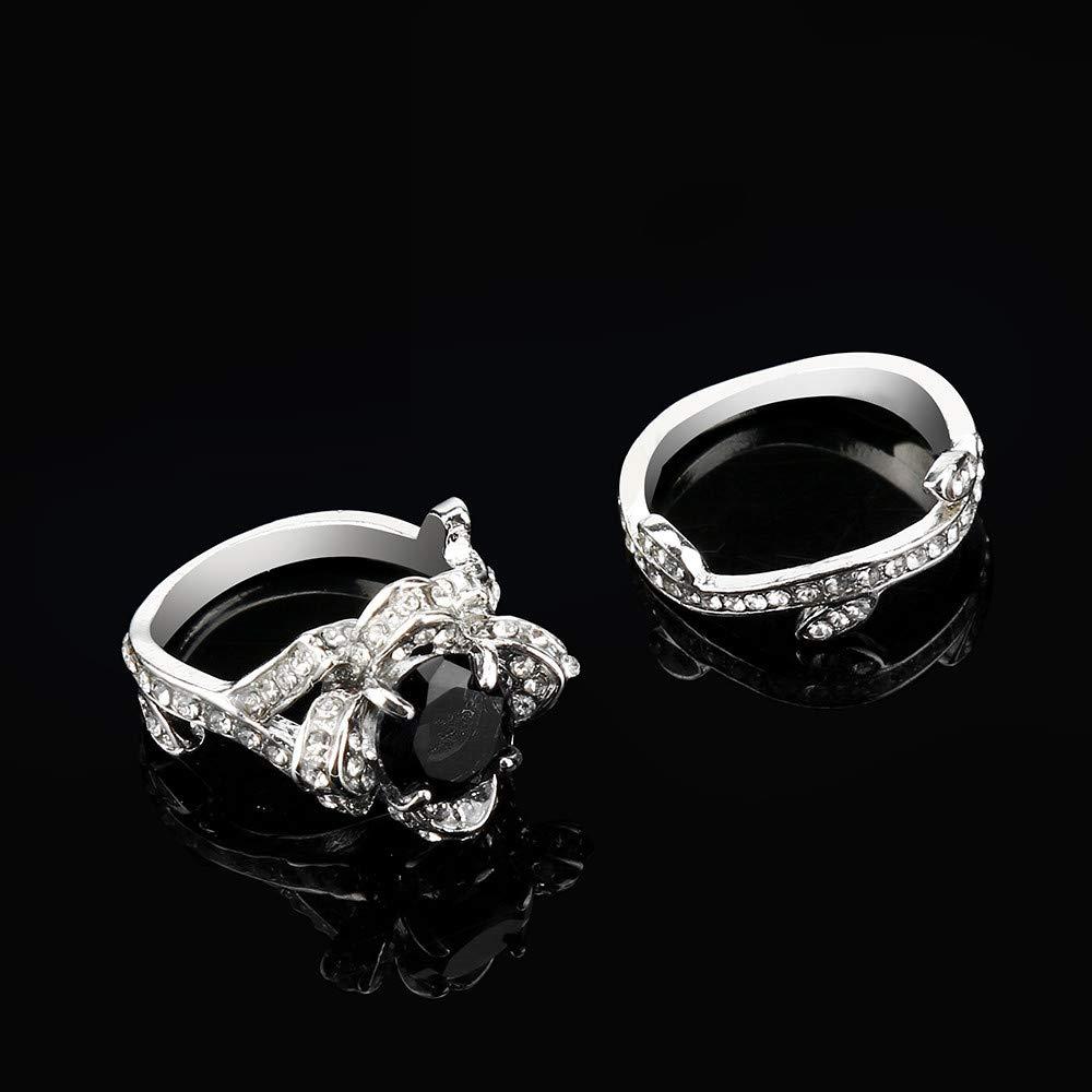 XBKPLO 2019 Rings New Exquisite Women's Rosette Zircon Fashion Ring Wedding Gift (Black, 10)