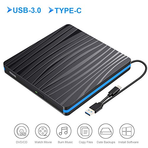 External DVD Drive, MosKee USB 3.0 USB-C Portable CD/DVD Optical Drive Rewriter Burner Writer Plug and Play, Support CD/DVD+/-RW etc, DVD Drive for Laptop/MacBook/iMac/Destop, Windows/Linux/Mac OS ()
