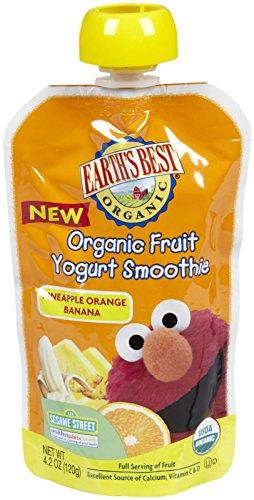 Earth's Best Sesame Street Fruit Yogurt Smoothies - Pineapple Banana Orange - 4.2 oz - 6 pk (Orange Pineapple Banana)