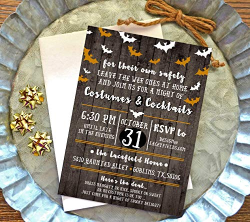 Adult Halloween Party Invitations with Envelopes - Set of 10
