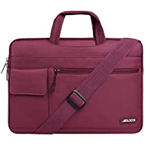 Mosiso Laptop Shoulder Bag for 15-15.6 inch MacBook Pro, Notebook Computer, Polyester Flapover Messenger Briefcase Handbag Sleeve Carrying Case Cover, Wine Red