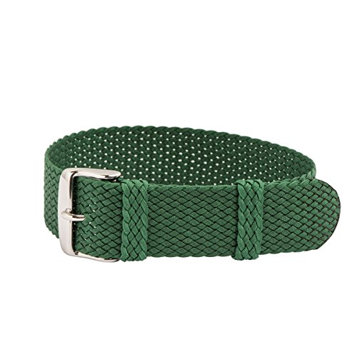 (Clockwork Synergy - Perlon Watch Strap Braided Nylon Band (20mm, Green) )