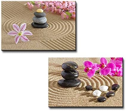 wall26 - Canvas Prints Wall Art - Japanese Zen Garden with Stacked Stones |  Modern Wall Decor/Home Decoration Stretched Gallery Canvas Wrap Giclee