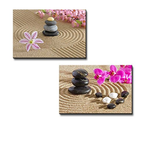 Japanese Zen Garden with Stacked Stones Wall Decor ation x 2 Panels