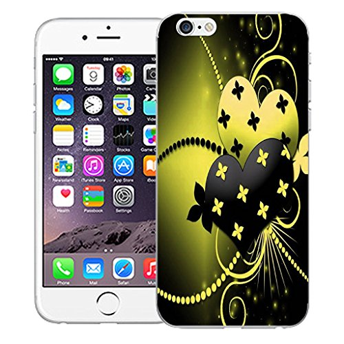 """Mobile Case Mate iPhone 6S 4.7"""" Silicone Coque couverture case cover Pare-chocs + STYLET - Yellow Dual Love pattern (SILICON)"""