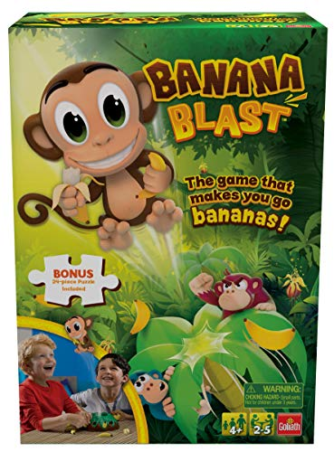 Banana Blast – Pull The Bananas Until The Monkey Jumps Game – Includes a Fun Colorful 24pc Puzzle by Goliath , Green