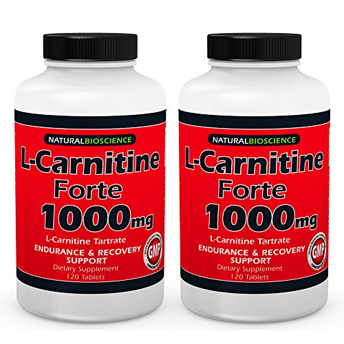 L-Carnitine - 1000mg in Each Double Potency Tablet - Double Value L-Carnitine Tartrate - Carnitine Amino Acid - Boost Energy and Endurance -120 Tablets (2 Pack)