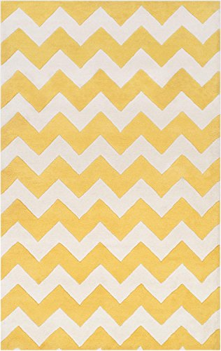 Yellow Wool Rug Contemporary Design 2-Foot x 3-Foot Hand-Made Chevron