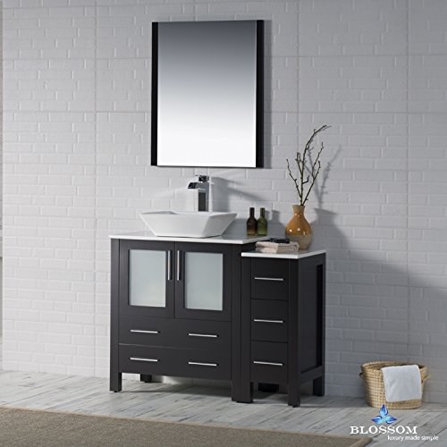 BLOSSOM 001-42-02-1616V-SC Sydney 42'' Vanity Set with Vessel Sink and Side Cabinet Espresso by Blossom