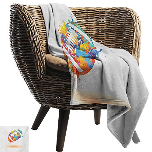 """Flannel Fleece Blanket,Sports,Rugby Ball with Rainbow Brush Effects Filled Covered with Colors Sports Sign Leisure,Multicolor,Throw Lightweight Cozy Plush Microfiber Solid Blanket 60""""x80"""""""