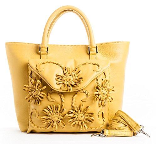 Dalia - Passione Bags - Borsa da donna in vera pelle a spalla o tracolla color giallo sole con fiori ricamati a mano - Made in Italy