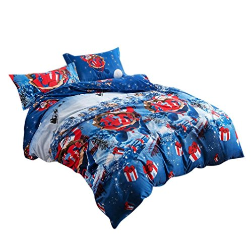 YOUSA Blue Bedding Set Kids Bedding for Christmas Santa Claus Bed Set (Twin,2Pcs)