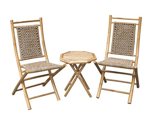 Patio Furniture Seagrass (Heather Ann Creations 3-Piece Bamboo Bistro Set with Open Link Weave, Natural)