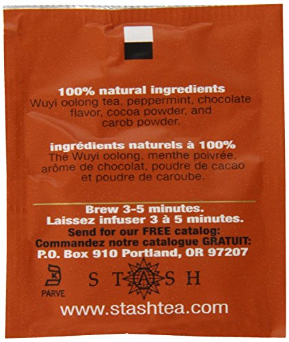 Stash Tea Chocolate Mint Wuyi Oolong Tea 10 Count Tea Bags in Foil (Pack of 12) (packaging may vary) Individual Black Tea Bags for Teapots Mugs or Cups, Brew Hot Tea or Iced Tea, Fair Trade Certified by Stash Tea (Image #4)
