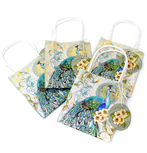 Punch Studio Teal Peacock Petite Mini Gold Foil Embellished Gift Treat Bags with Gift Tags (62327), 4-ct