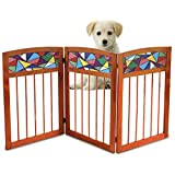 """Kleeger Freestanding Wooden Pet Gate: Safety Gate For Indoor Home & Office """" Wood & Stained Glass Folding Design - For Cats Small Dogs & Pets """" No Set Up Required"""