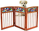 Kleeger Freestanding Wooden Pet Gate: Safety Gate For Indoor Home & Office – Wood & Stained Glass Folding Design - For Cats Small Dogs & Pets – No Set Up Required