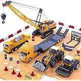 iPlay, iLearn Engineering Construction Site Play Set, Bulldozer, Steamroller, Forklift, Crane, Dump Truck, Plow, Trailer, Equipment Vehicles, Signs & Cones, Toy Gift for Boys, Girls, Kids & Children